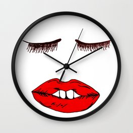 Sleepy lipstick Wall Clock