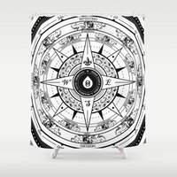 compass Shower Curtains featuring Compass Rose by 83 Drops