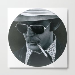 Hunter S. Thompson on vinyl record print Metal Print