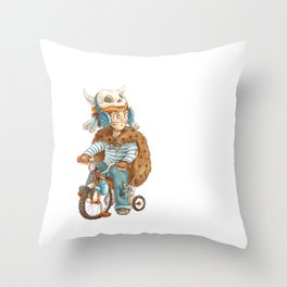 Cute fallout character - little boy with the bike Throw Pillow