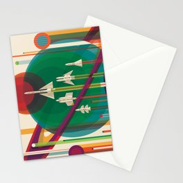 NASA Retro Space Travel Poster The Grand Tour Stationery Cards