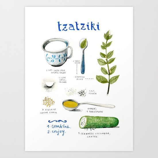 illustrated recipes: tzaziki Art Print