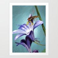 Wasp on flower 11 Art Print