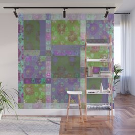 Lotus flower purple and lime green stitched patchwork - woodblock print style pattern Wall Mural