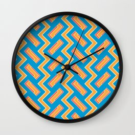 034 Abstract white, light orange and blue art for home decoration Wall Clock