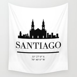 SANTIAGO DE CHILE BLACK SILHOUETTE SKYLINE ART Wall Tapestry