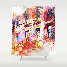 NYC Watercolor Collection - New York Facades Shower Curtain