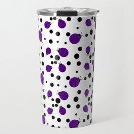 Purple Ladybugs and Black Dots Travel Mug