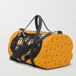 Vintage Type Halloween Black Cat Face Stars Orange Duffle Bag