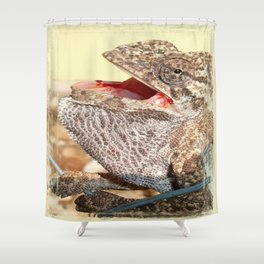 A Chameleon With Open Mouth Shower Curtain