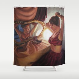 Portrait of a lady with a burlesque style Shower Curtain