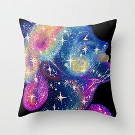 Star Girl cosmic pretty face Throw Pillow
