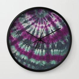 Tie Dye Spiral Green Purple Wall Clock