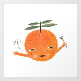 Hi! orange illustration Art Print