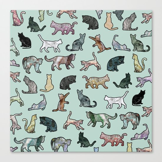 Cats shaped Marble - Mint Green Canvas Print
