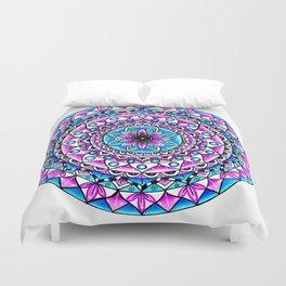 Mandala #2 Wall Tapestry Throw Pillow Duvet Cover Bright Vivid Blue Turquoise Pink Contempora Modern Duvet Cover