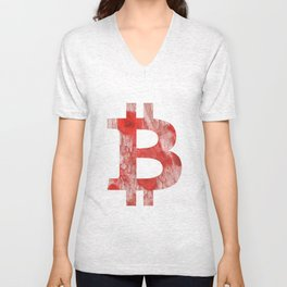 Bitcoin Red Pink streaked wash drawing Unisex V-Neck