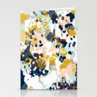 girls Stationery Cards featuring Sloane - Abstract painting in modern fresh colors navy, mint, blush, cream, white, and gold by CharlotteWinter