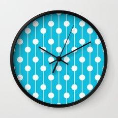Bright Blue Lined Polka Dot Wall Clock