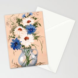 Watercolor Meadow Flowers. Bouquet. Cornflowers and Daisies Stationery Cards