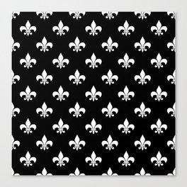 White royal lilies on a black background Canvas Print