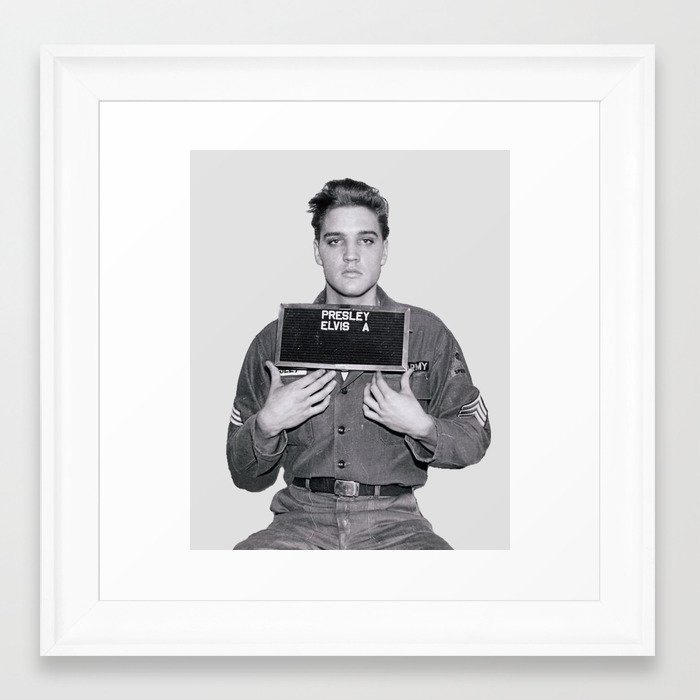 Elvis presley army mugshot framed art print by bizarrojerry society6