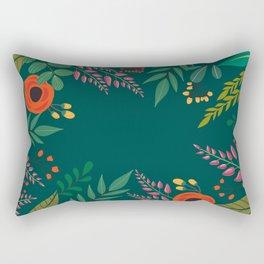 Spring now please! A Vintage green floral pillow Rectangular Pillow