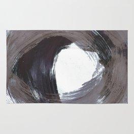 Circular Gestural Brushstroke Grey Abstract Painting Rug