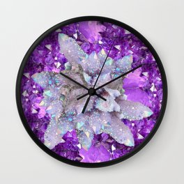 WHITE DRUZY QUARTZ & PURPLE AMETHYST CRYSTAL VIGNETTE Wall Clock