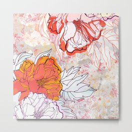 Abstract Floral Illustration Metal Print