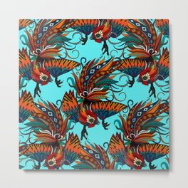 rooster ink turquoise Metal Print