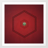 hexagon Art Prints featuring Hexagon by BoxEstudio