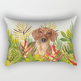 Little Dog with with Palm leaves Rectangular Pillow