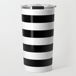 Stripe Black & White Horizontal Travel Mug