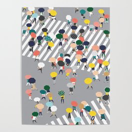 Crossing The Street on a Rainy Day - Grey Poster