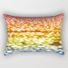 Rainbow Glitter Sparkles Rectangular Pillow