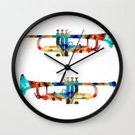 Colorful Trumpet Art By Sharon Cummings Wall Clock