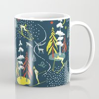 skiing Mugs featuring Retro Skiing  by beach please