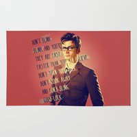 david tennant Area & Throw Rugs featuring DON'T BLINK! David Tennant - Doctor Who by KanaHyde