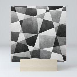 Mid Century Skewed Color Blocks - Gray, Black and White Mini Art Print