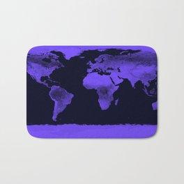 Periwinkle World Map Bath Mat
