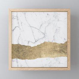 Elegant faux gold foil gray white modern marble Framed Mini Art Print