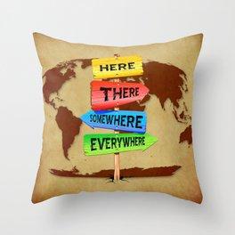 Directions Panels Wanderlust Throw Pillow