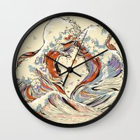 line Wall Clocks featuring The Wave of Love by Huebucket