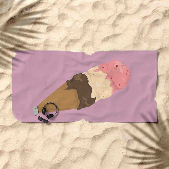 neapolitan ice cream pattern, millennial pink Beach Towel
