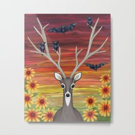 white tailed deer, bats, black eyed susans Metal Print
