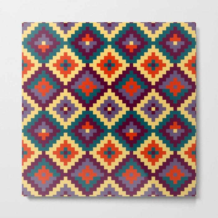 Aztec pattern - purple, red, blue, yellow Metal Print