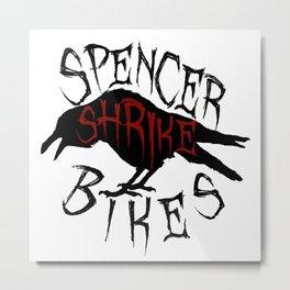 Spencer Shrike Bikes - Black Metal Print
