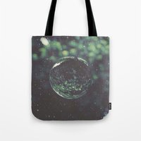 globe Tote Bags featuring Snow Globe by Jane Lacey Smith