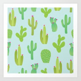 Colorful cactus desert illustration pattern. Green cactuses on blue. Art Print